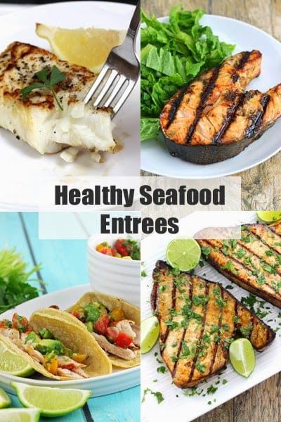 """Decorative collage of food images with header text that reads """"Healthy Seafood Entrees"""""""