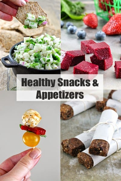 """Decorative collage of food images with header text that reads """"Healthy Snacks and Appetizers"""""""