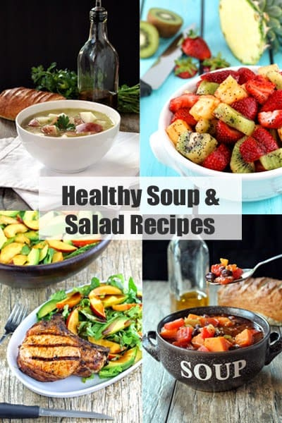 """Decorative collage of food images with header text that reads """"Healthy Soup and Salad Recipes"""""""