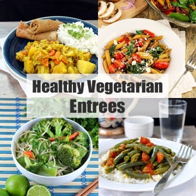 """Decorative collage of food images with header text that reads """"Healthy Vegetarian Entrees"""""""