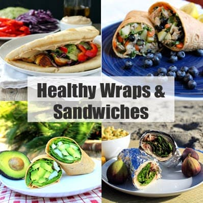 """Decorative collage of food images with header text that reads """"Healthy Wraps and Sandwiches"""""""
