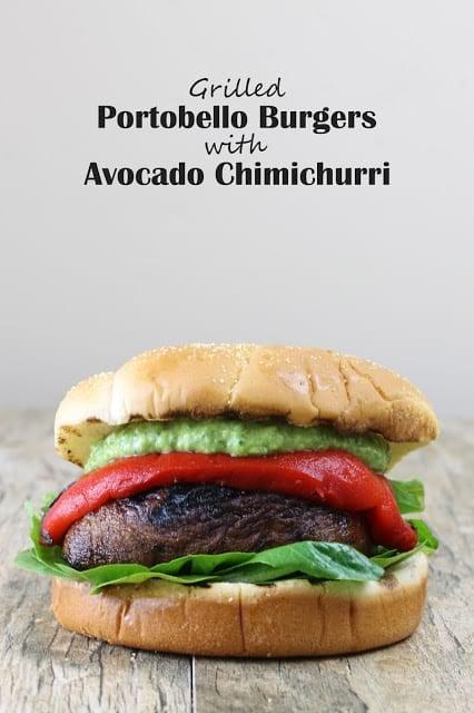 Vegan Grilled Portobello Burgers with Avocado Chimichurri