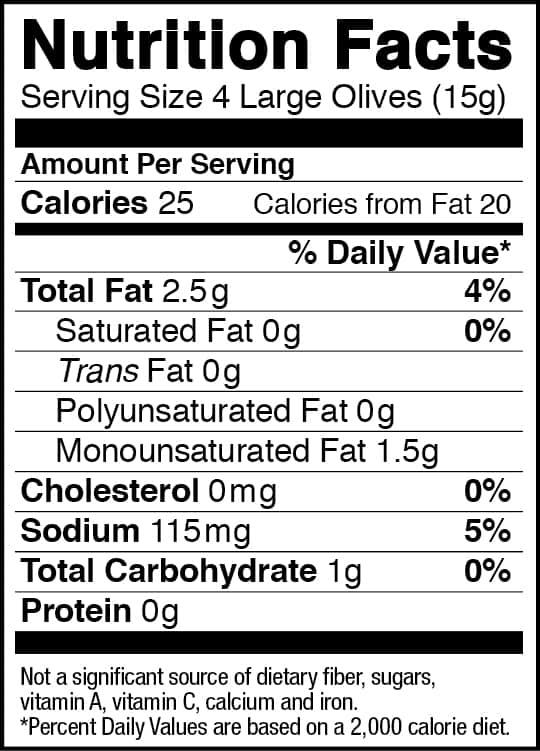 Black Olives Nutrition Label Nutritionwalls