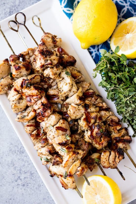 Grilled Lemon Herb Chicken Thigh Skewers