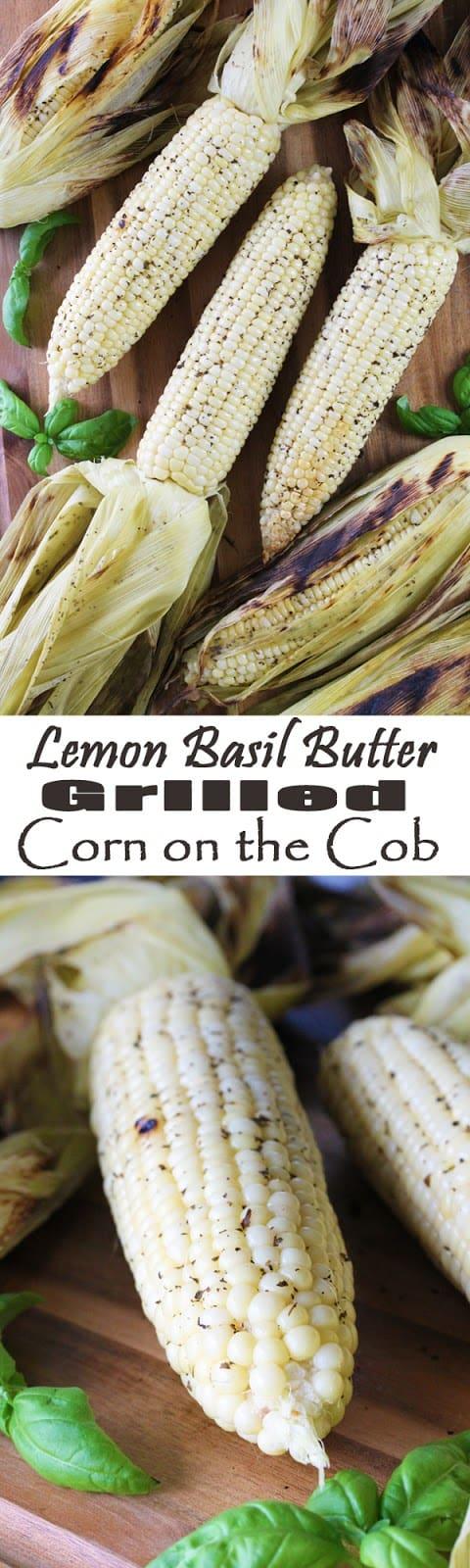 Lemon-Basil Butter Grilled Corn on the Cob