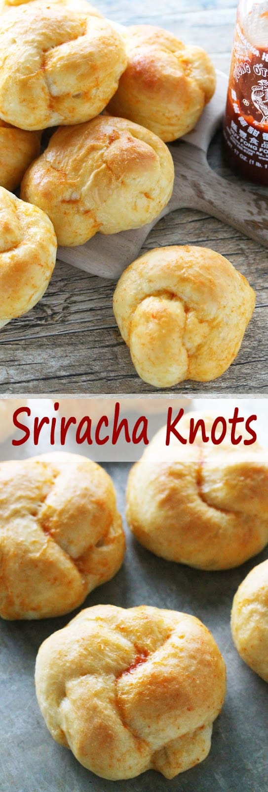 Sriracha Knots from the Stay At Home Chef. Spicy sriracha butter glazed rolls that brings a little heat and a whole lot of flavor!
