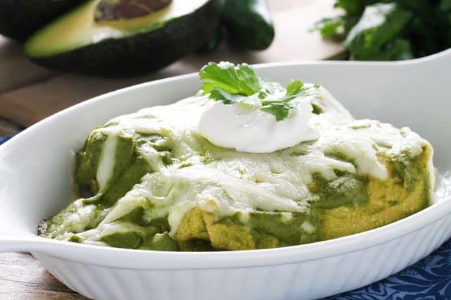 Mole Verde Chicken Enchiladas