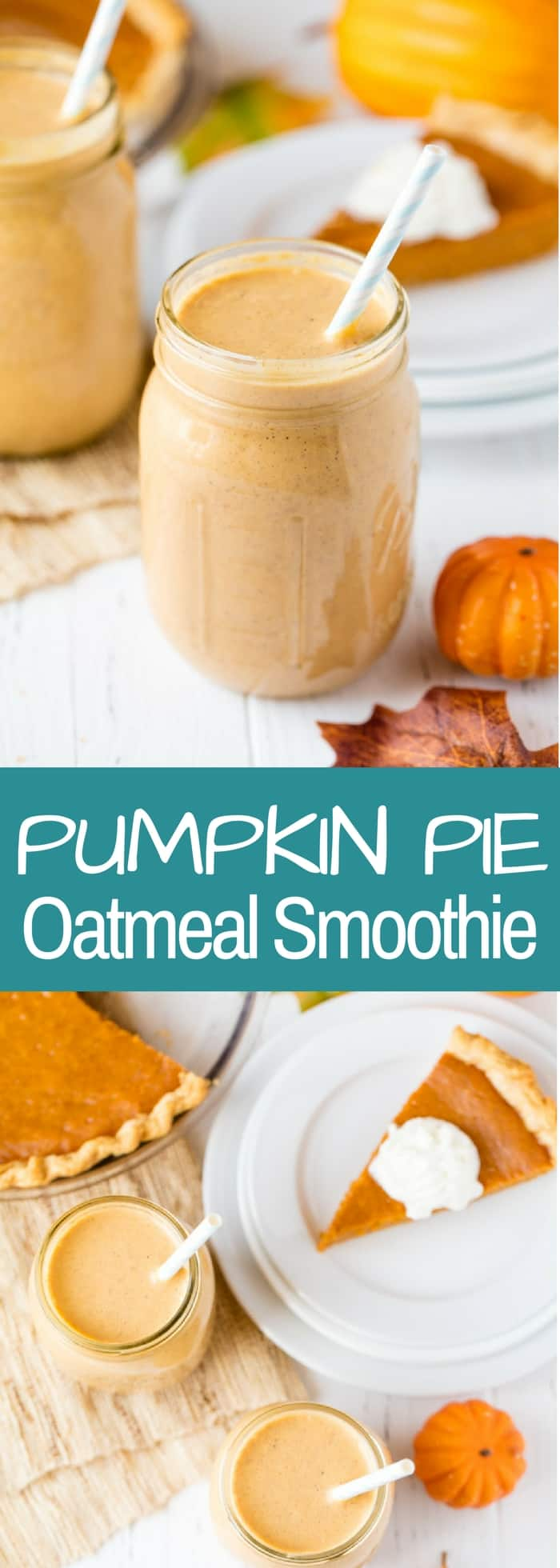 This Pumpkin Pie Oatmeal Smoothie is designed to make ahead for an easy, on-the-go breakfast that will fill you up and provide you with some nutrition along the way.