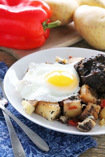 short rib hash on a white plate with red pepper and potatoes in background