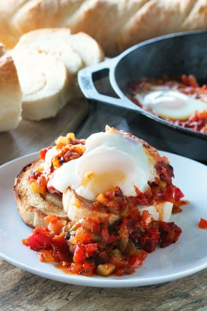 Pisto is a dish from Spain that is flavorful and full of vegetables, served over toasted bread and topped off with a fried egg.