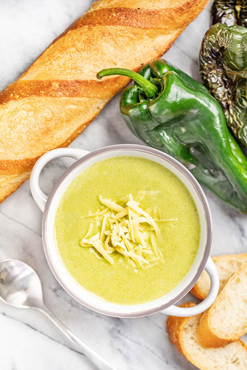 Roasted Poblano White Cheddar Soup