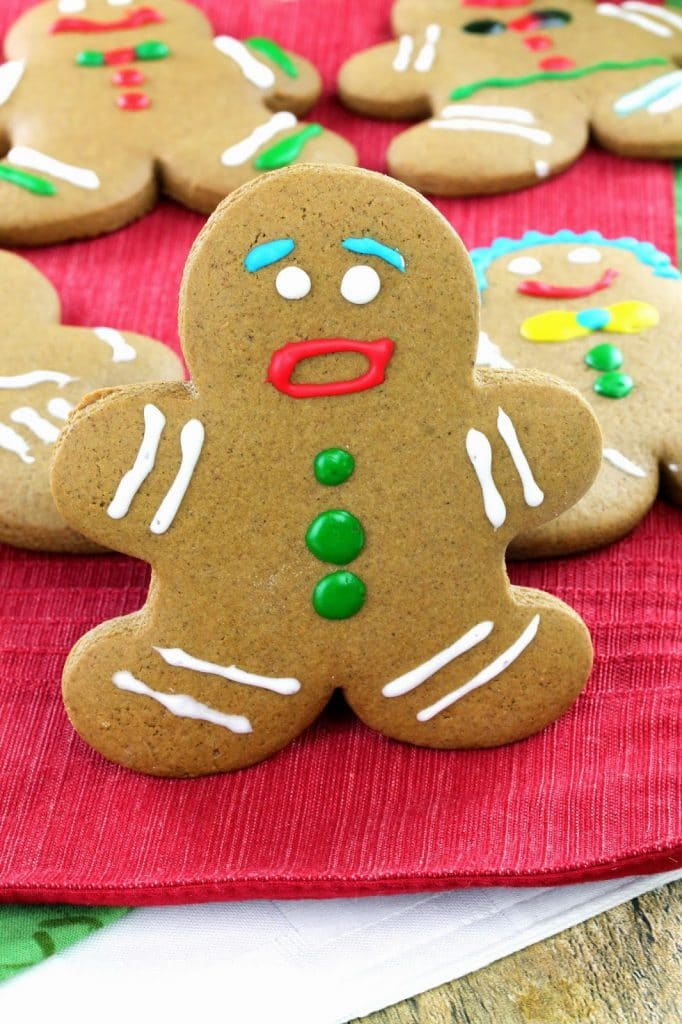 Classic old-fashioned gingerbread men cookies. Bust out your cookie cutter and make this classic Christmas treat!