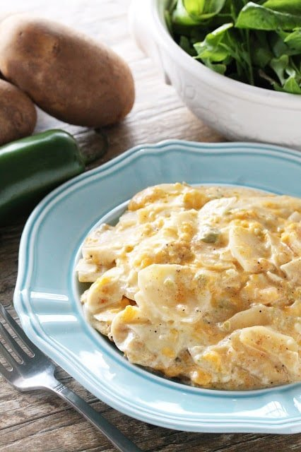 A spicy twist on the classic dish, and it's even made in the slow cooker! Jalapeno Scalloped Potatoes aren't your momma's potatoes.