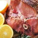 Ham is heated in the slow cooker and glazed with a quick and delicious homemade orange and balsamic glaze.