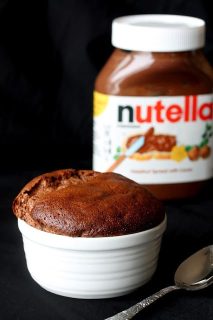 Savory bits of bacon hidden inside a warm and comforting Nutella souffle.