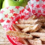 """Apple """"fries"""" sprinkled with sugar and served in a basket"""