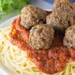 These are the best baked meatballs out there! A crispy crust and a juicy and flavorful center. These meatballs are sure to quickly become a family favorite!