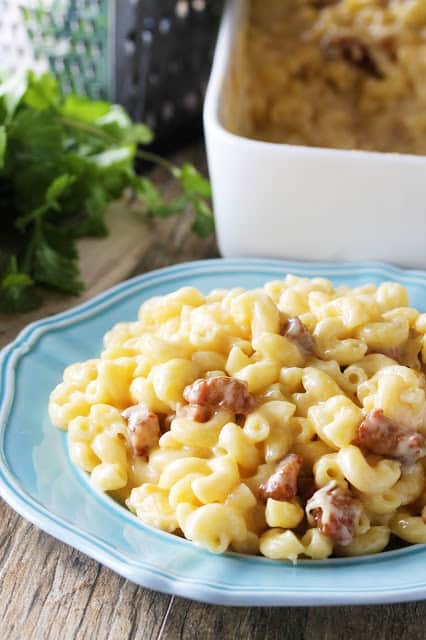 Crispy pork belly and 5 different kinds of cheese melted together to create the ultimate Gourmet Bacon Mac and Cheese. It is served up on a blue plate.