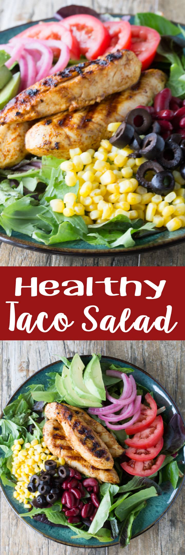 All the flavors of tacos in a healthy salad with a tasty cilantro-lime vinaigrette. Try my Healthy Taco Salad with Cilantro-Lime Vinaigrette!