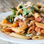 Penne Rosa tossed with a creamy red sauce with a kick and tomatoes, mushrooms, and spinach. Freshly grated parmesan is sprinkled on top.