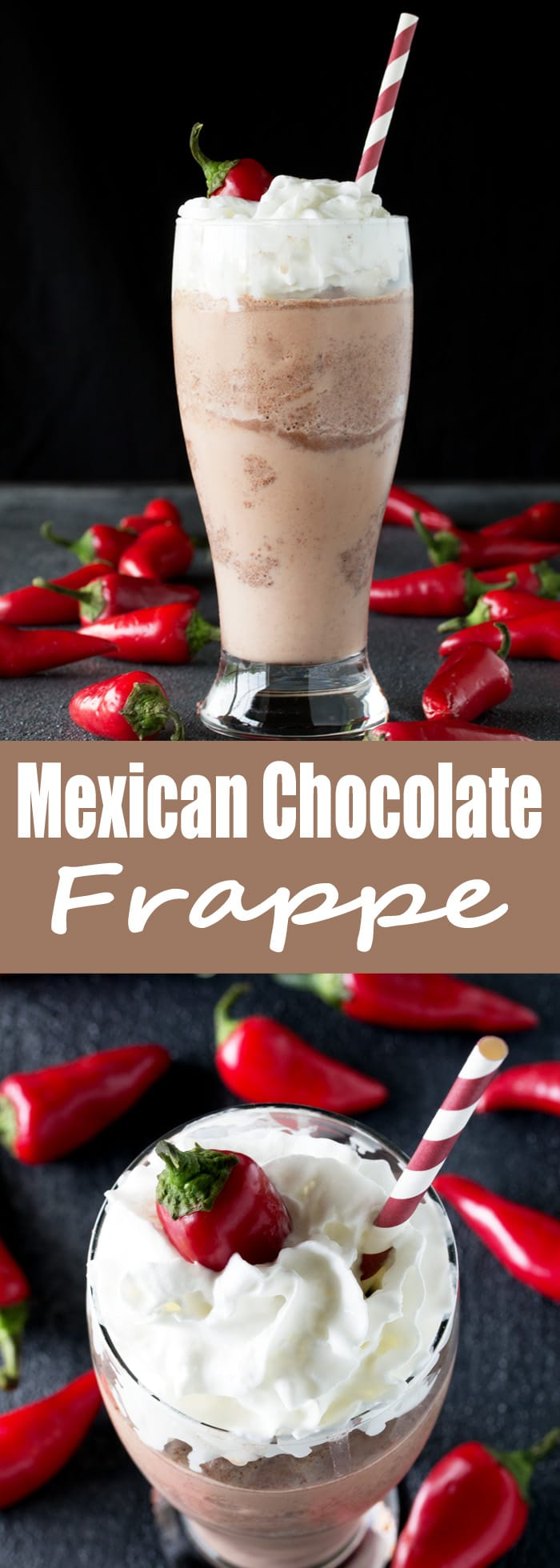 Homemade Mexican Chocolate Frappes are easy to make. This sweet, cold drink has just a bit of heat. It's the perfect summer treat.
