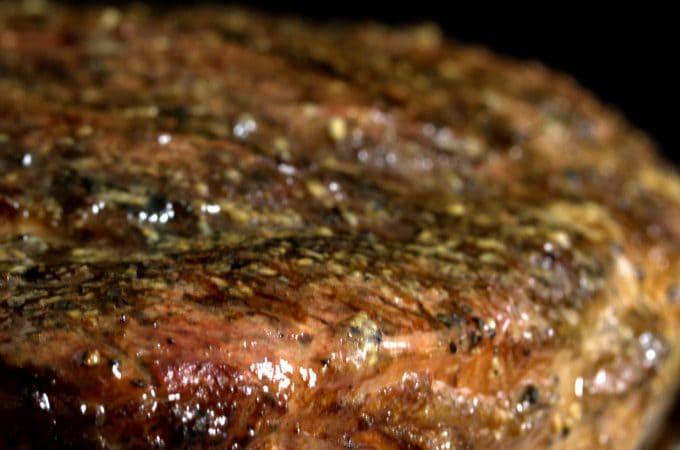 Close up of a tomahawk steak.