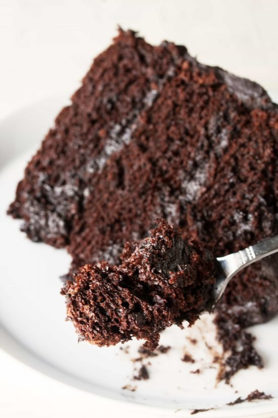 A fork takes a bite out of a slice of the Most Amazing Chocolate Cake
