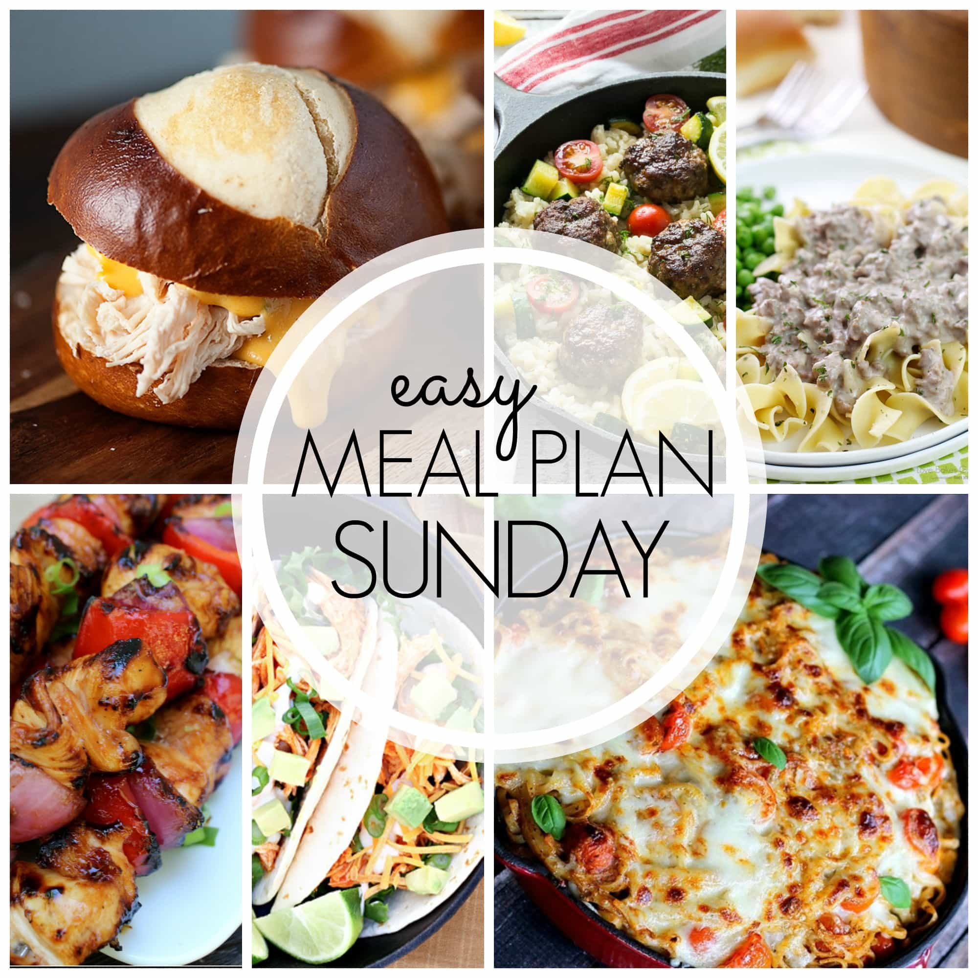 Easy weekly meal plan with 6 dinners, 1 breakfast, and 2 desserts.