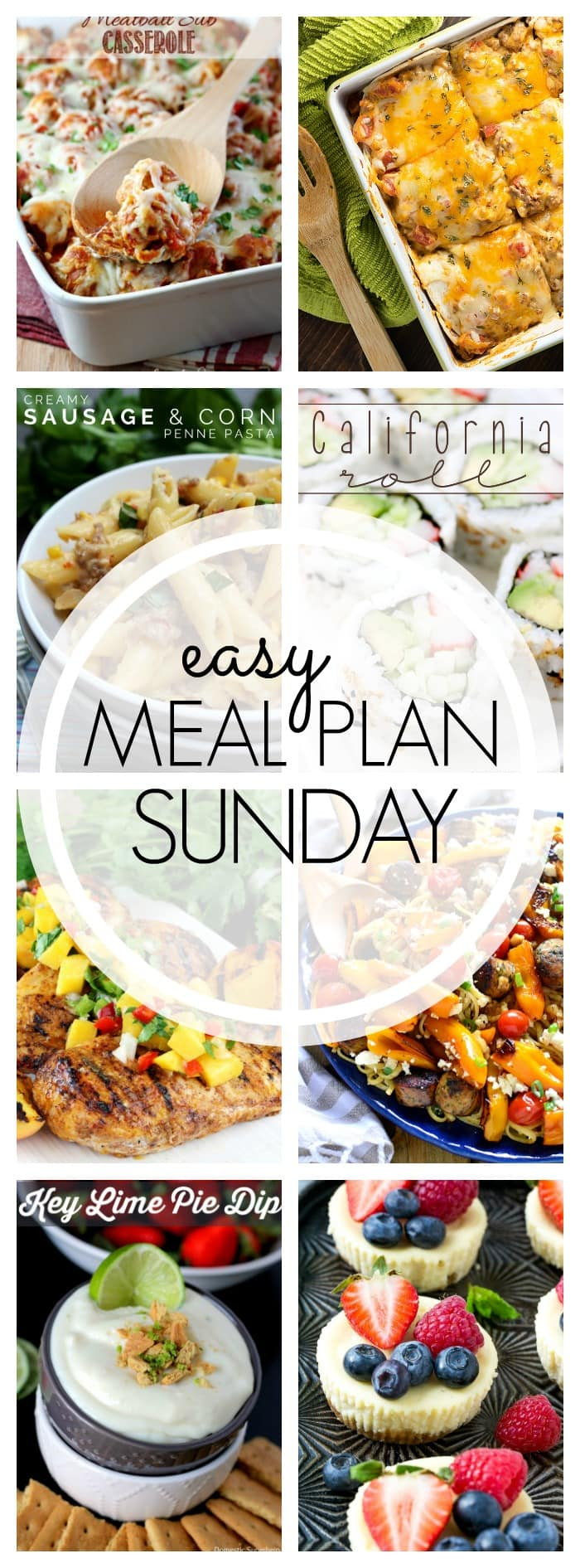 An easy weekly meal plan with 6 dinners, 1 breakfast, and 2 desserts. Leave the meal planning to us!