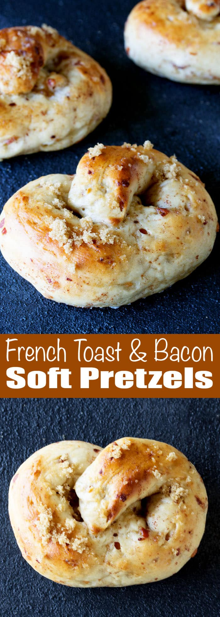 This is a fun twist on the classic soft pretzel turning this twisted bread into a breakfast delight. French Toast and Bacon Soft Pretzels.