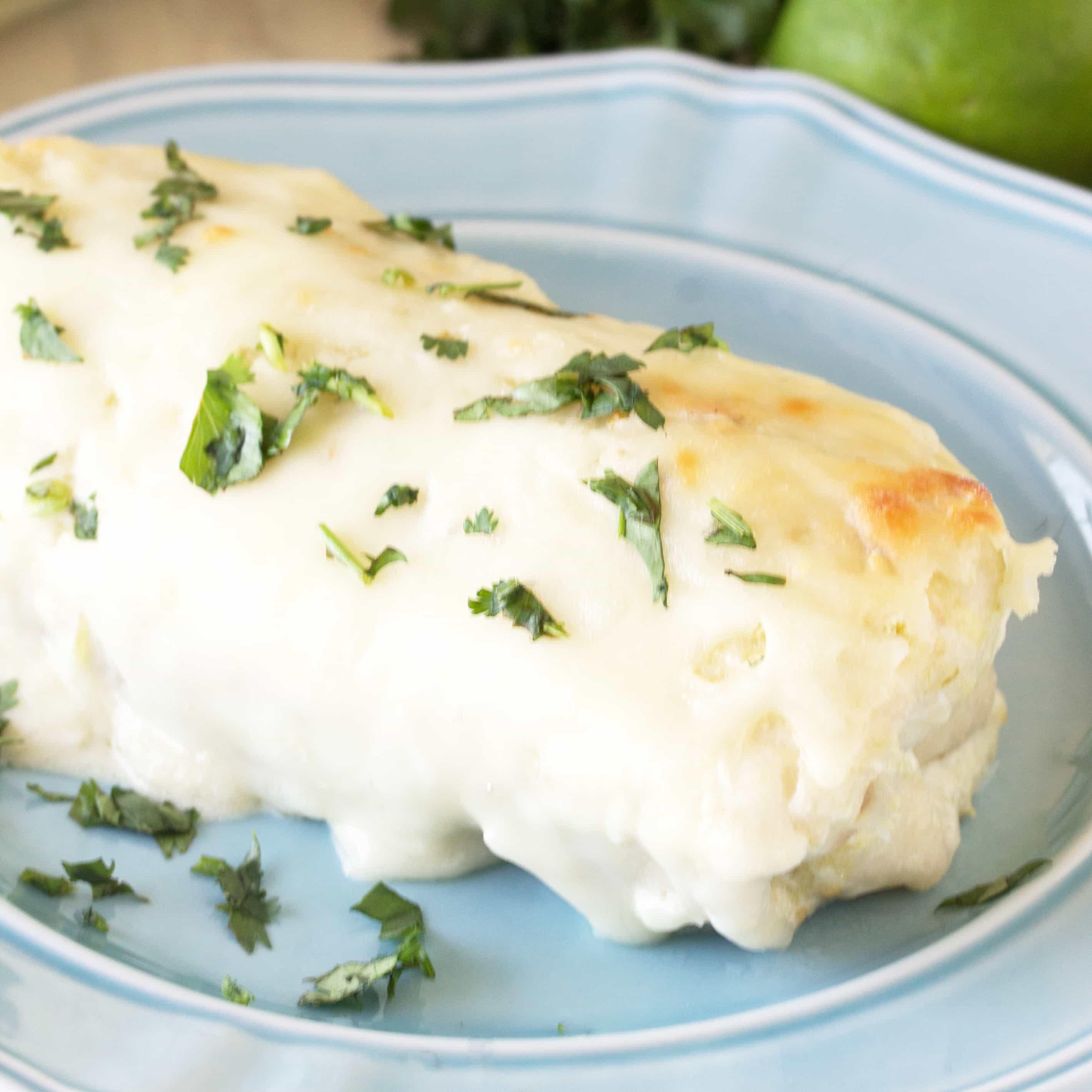Green Chile Cream Cheese Chicken Enchiladas