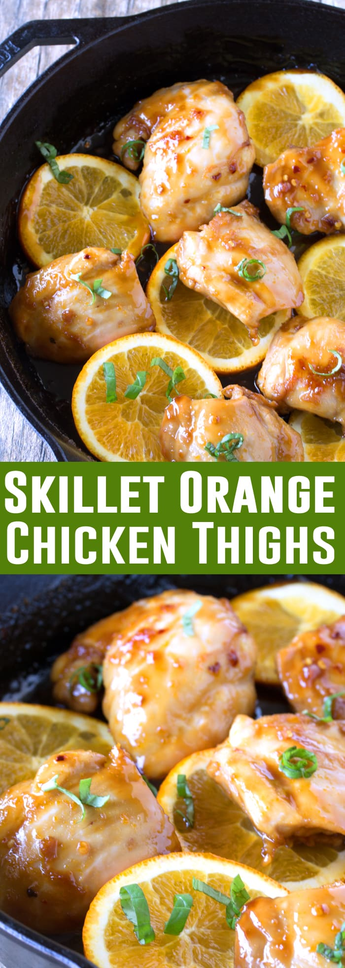 Moist and juicy chicken thighs are cooked in an Asian-inspired orange glaze in these tasty Orange Glazed Skillet Chicken Thighs.