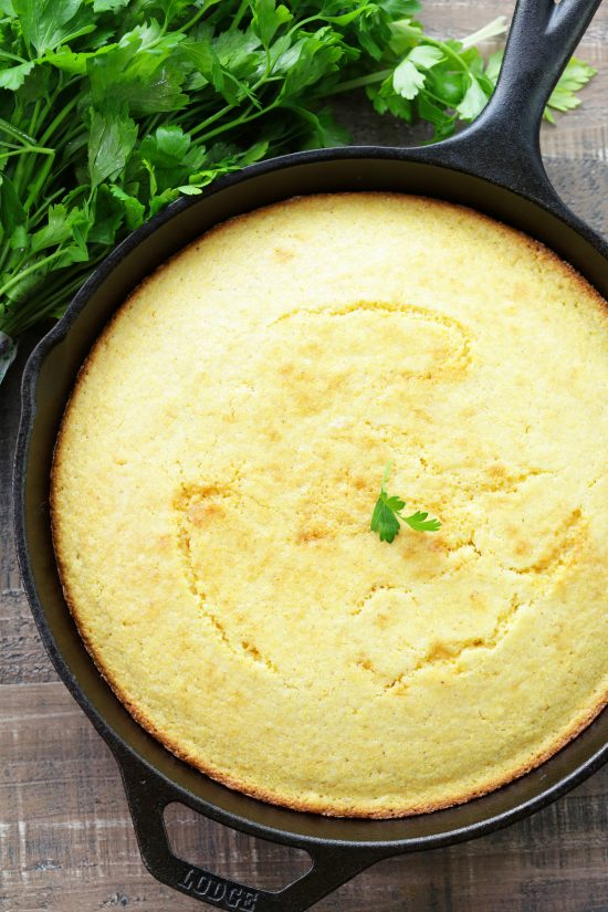 Easy skillet cornbread in a cast iron skillet