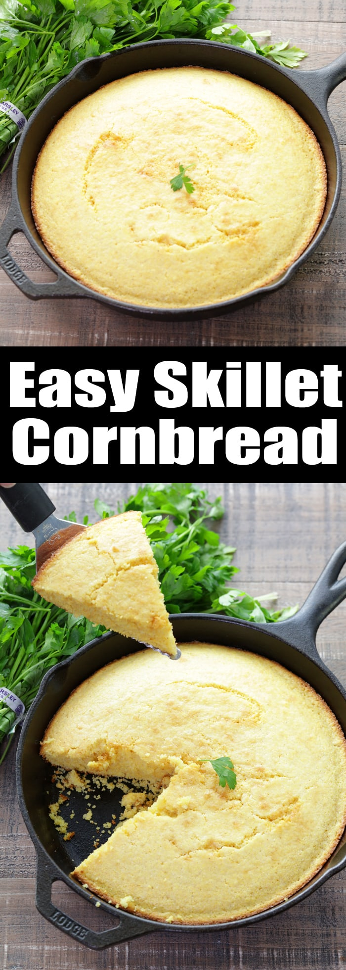 This cowboy Western-style Easy Skillet Cornbread is the perfect side for every soup, stew, and chili you make this winter.It takes just minutes to whip up this sweet cornbread and everyone always loves it!