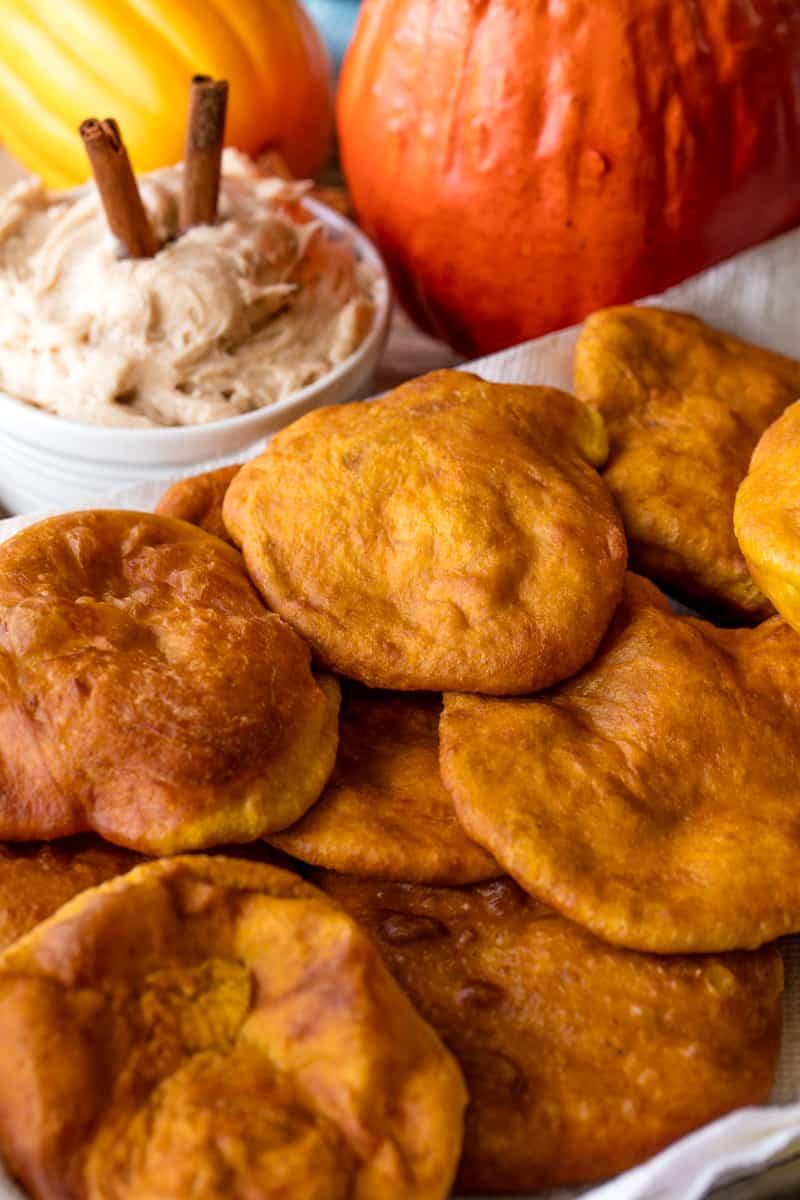 Pumpkin Fry Bread on a white towel.