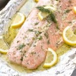 It doesn't get much easier than this Easy 5 Ingredient Baked Salmon with a garlic, lemon, and dill butter sauce. All it takes is 5 ingredients and 20 minutes of your time. So simple, so flavorful!