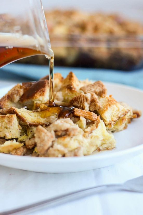 Syrup pouring on cinnamon toast crunch breakfast casserole