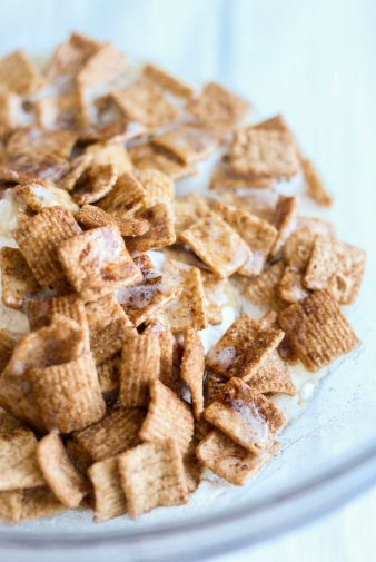 Cinnamon toast breakfast cereal in a clear bowl