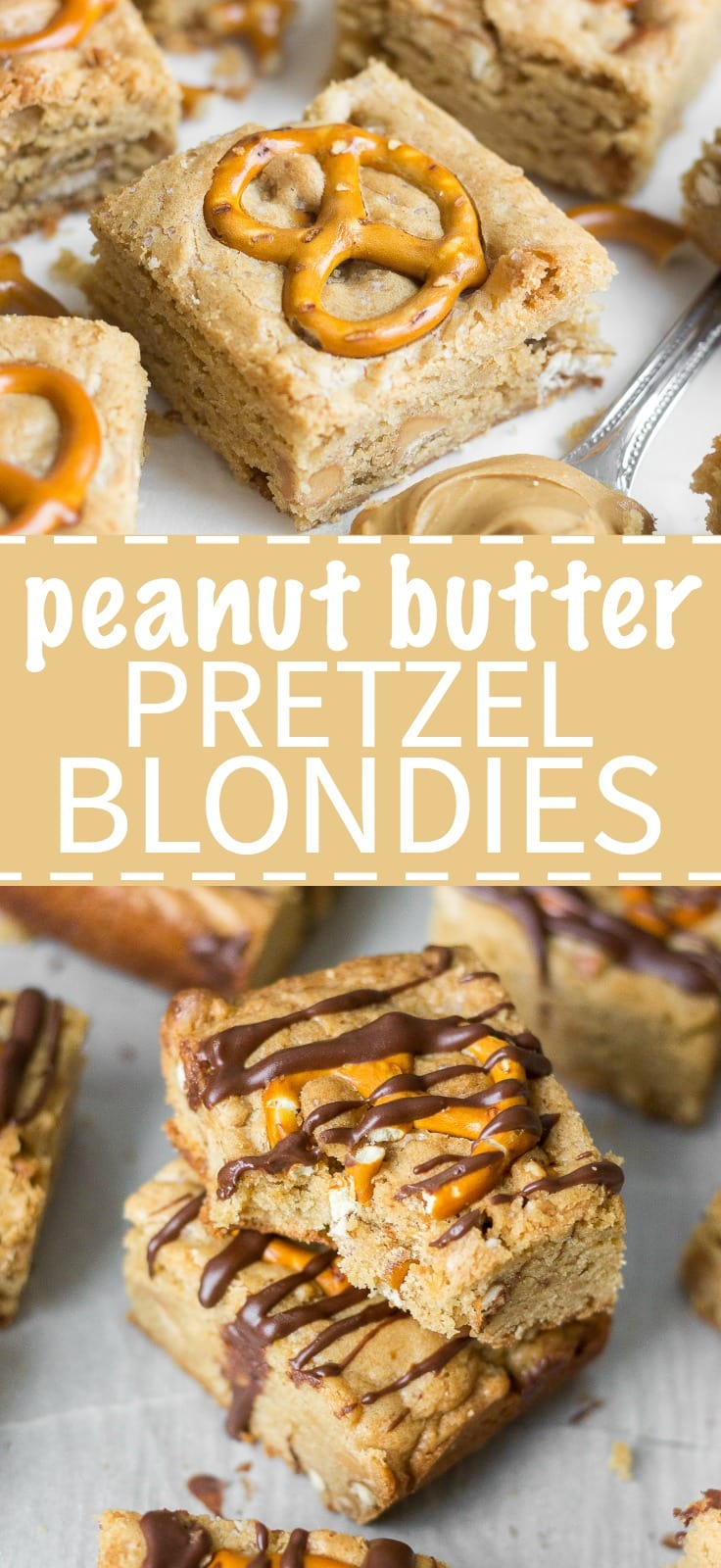 Thick and chewy peanut butter pretzel blondies! This easy-to-make dessert recipe comes together in minutes with no hand mixer required. It's full of flavor from the peanut butter and the pretzels give it the best crunchy texture.