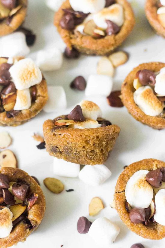 rocky road cookie cups sitting amongst mini marshmallows