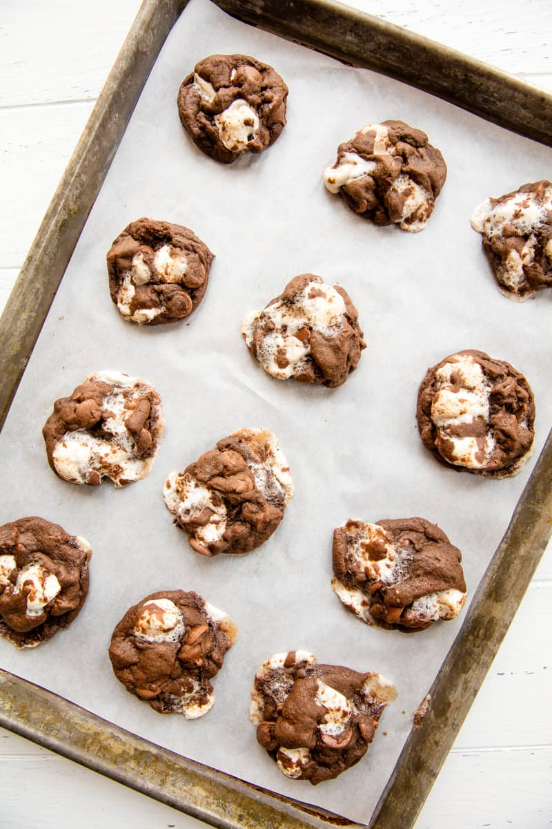 Chocolate Marshmallow Chubbies on parchment paper in a baking sheet.