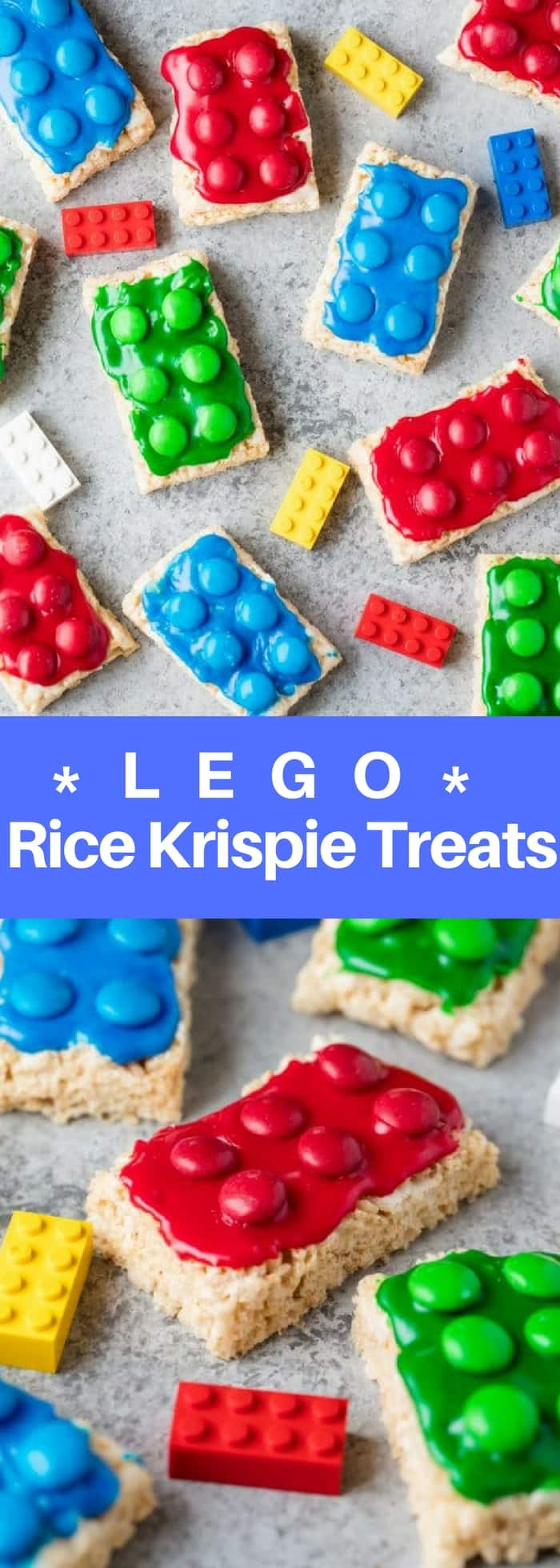 Lego Rice Krispie Treats are easy to make for your Lego lover. Great for a Lego birthday party, Lego themed allergy friendly treat for school, or just plain fun for Lego lovers!