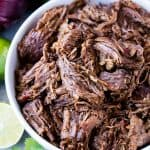 Bowl of shredded Mexican Beef Barbacoa