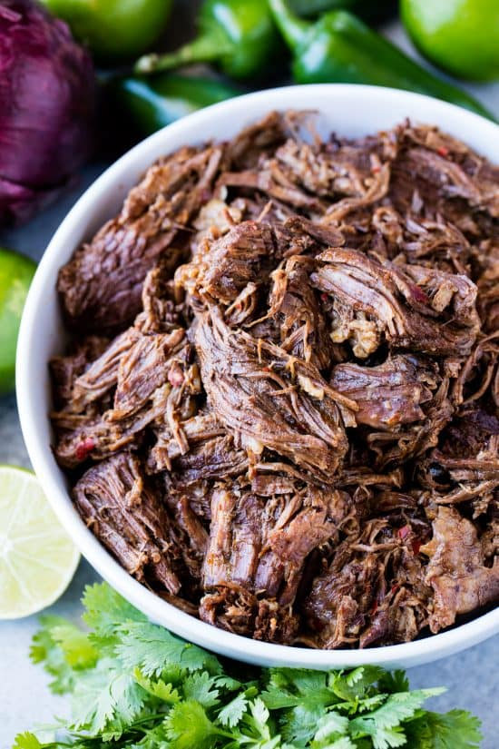 Bowl of shredded beef barbacoa