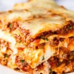A slice of the Most Amazing Lasagna on a plate