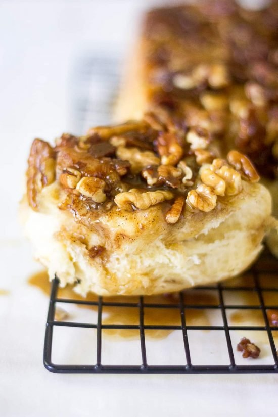 Maple Pecan Sticky Buns are made to kick of fall festivities. The dough is soft and sweet and the topping is crunchy, spicy and gooey. You and your family will fall in love with these breakfast pastries!