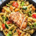 Easy Chicken Pasta Primavera is a delicious weeknight dinner recipe that's loaded with veggies and super simple to make!