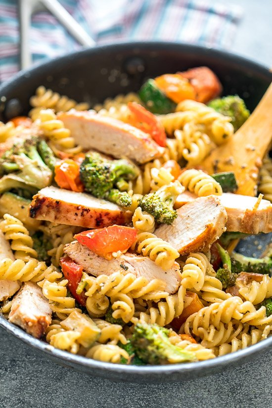 Easy Chicken Pasta Primavera in a skillet