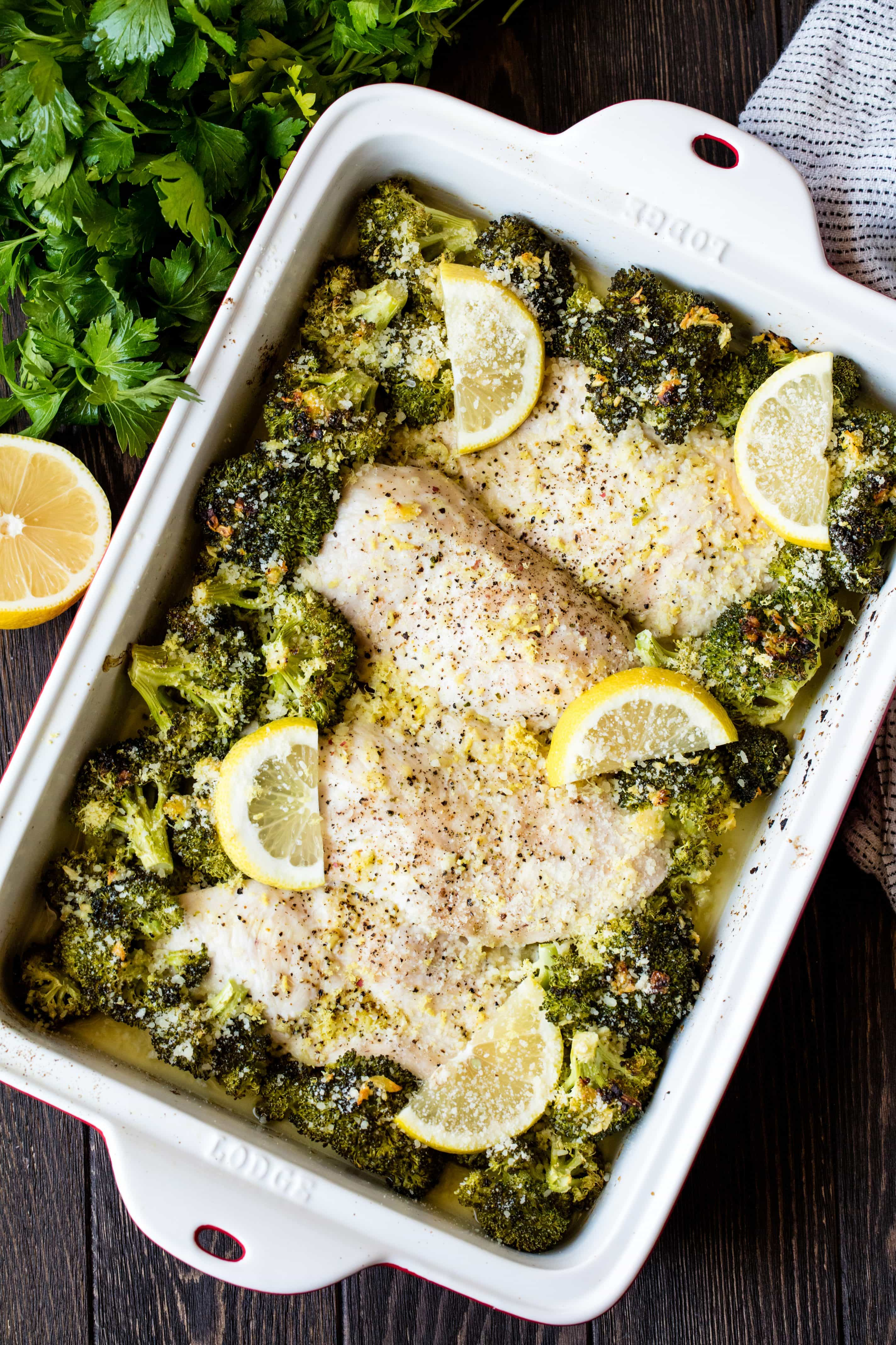 Lemon Garlic Chicken Broccoli Bake