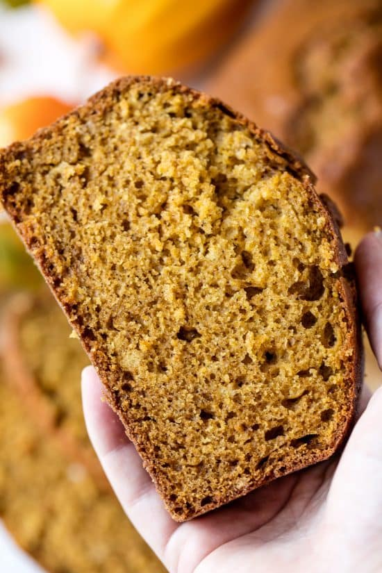 This Moist Pumpkin Bread is made from scratch and is absolutely fool proof and easy to make. Add walnuts, raisins and more or just enjoy it plain. You will love this super moist fall quick bread!